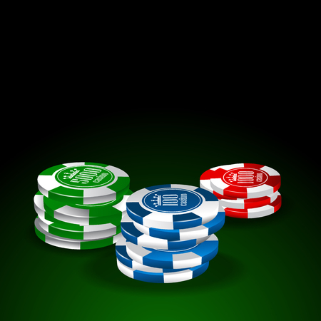 Chips set on green table
