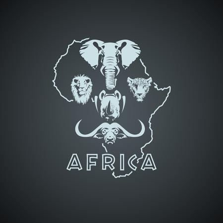 Illustration pour African Big Five Mock up. Layered and editable - image libre de droit