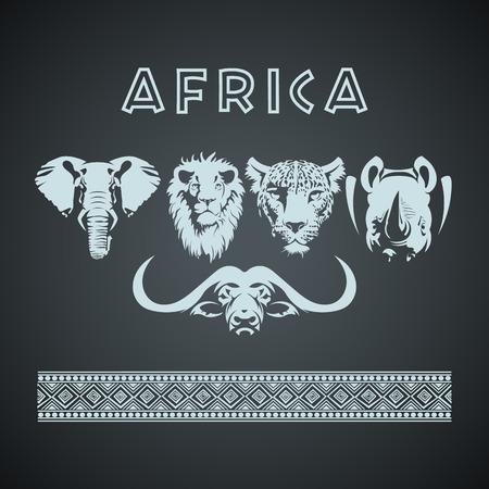 Ilustración de Vintage African Big 5 Mock up. Layered and editable - Imagen libre de derechos