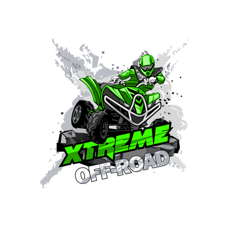 Illustration for Quad Bike Off-Road ATV Logo, Extreme Off-Road. - Royalty Free Image