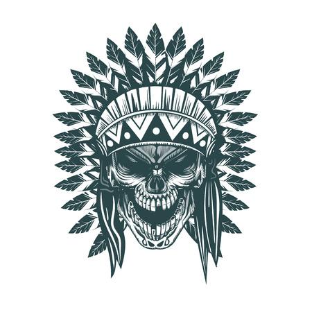 Illustration pour Indian skull. Monochrome hand drawn tatoo style - image libre de droit