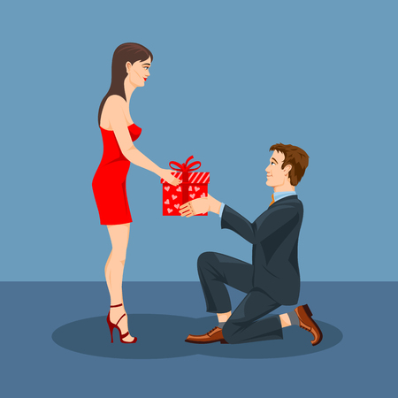 Illustration pour A man gives a gift to his beloved woman.  Vector graphics. - image libre de droit