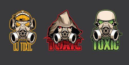 Illustration pour Set of three bio masks with the inscription Toxic - image libre de droit