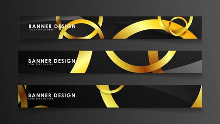 Illustration for Abstract circle banner. Fancy vector illustration. golden circle on a dark background - Royalty Free Image