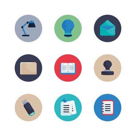 Illustration pour Flat block style icon set design, Office object workforce corporate job work occupation and communication theme Vector illustration - image libre de droit