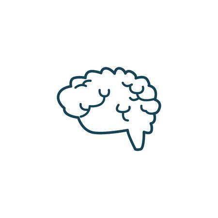 Illustration pour Human brain line style icon design, Organ mind science intelligence idea medical head and education theme Vector illustration - image libre de droit