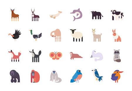 Illustration pour Cute animals cartoons fill style icon set design, zoo life nature character childhood and adorable theme Vector illustration - image libre de droit