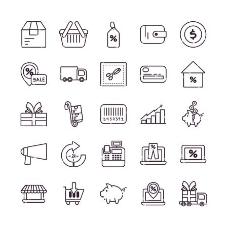 Illustration for Shopping line style icon set design of Commerce market store shop retail buy paying banking and consumerism theme Vector illustration - Royalty Free Image