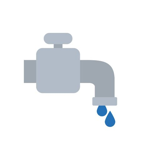 water faucet and drops icon over white background, flat style, vector illustration