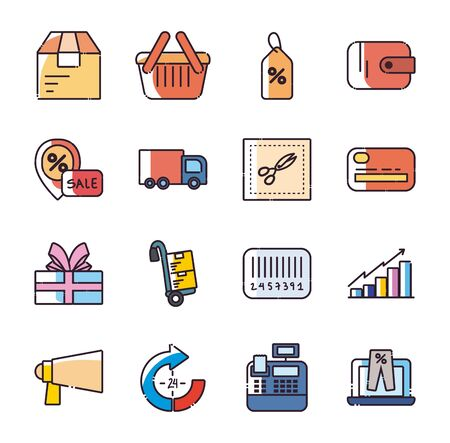 Illustration for Shopping fill style icon set design of Commerce market store shop retail buy paying banking and consumerism theme Vector illustration - Royalty Free Image