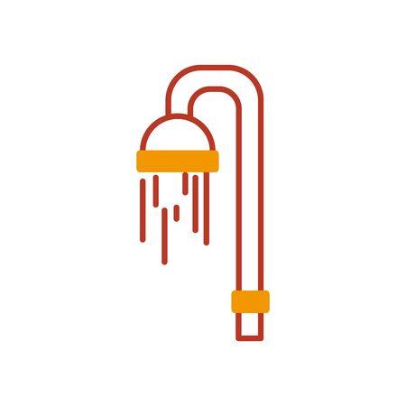 showe icon over white background, half line half color style, vector illustration