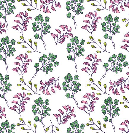 Illustration pour Botanical leaves background design of Floral nature plant garden ornament botany decoration and life theme Vector illustration - image libre de droit