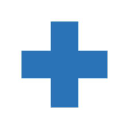 Illustration pour medical cross icon over white background, flat style, vector illustration - image libre de droit