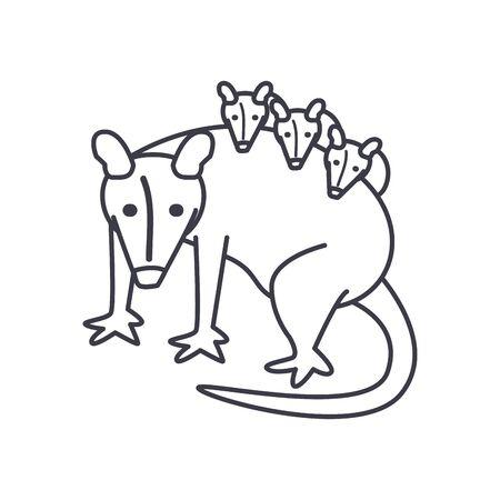 Illustration pour opossum with hatchlings icon over white background, line style, vector illustration - image libre de droit