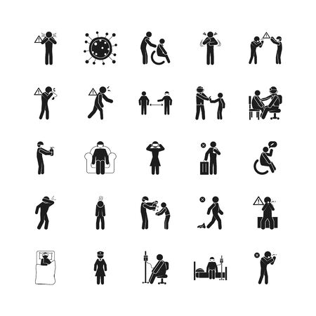 Illustration for symptoms of Covid 19 and preventions icon set over white background, silhouette style, vector illustration - Royalty Free Image