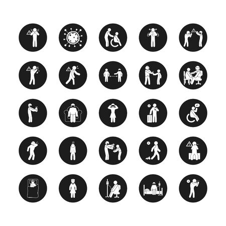 Illustration pour doctors and coronavirus and health icon set over white background, silhouette style, vector illustration - image libre de droit