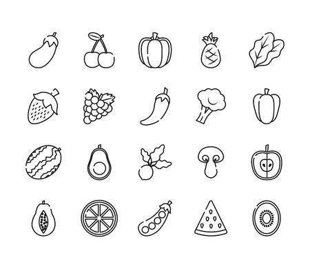 Illustration for eggplant, fruits and vegetables icon set over white background, line style, vector illustration - Royalty Free Image