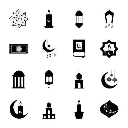 Illustration pour prayer rug and ramadan icon set over white background, line style, vector illustration - image libre de droit