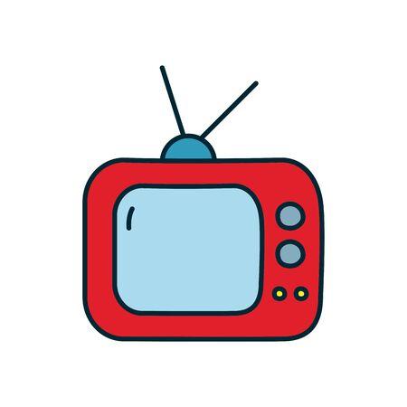 Illustration pour retro television icon over white background, line and fill style, vector illustration - image libre de droit