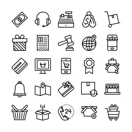 Illustration pour headphones and shopping online icon set over white background, line style, vector illustration - image libre de droit