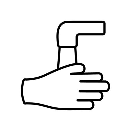 handwashing concept, water faucet and hand icon over white background, line style, vector illustration