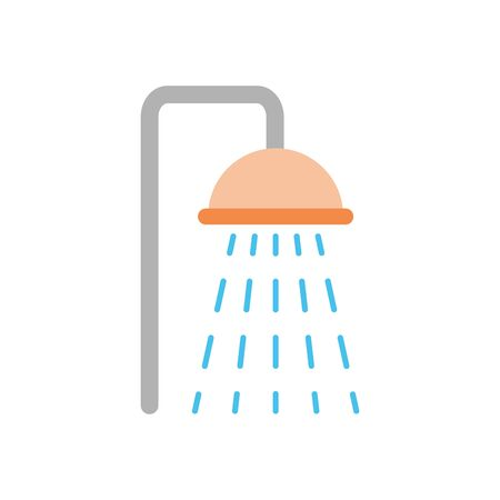 shower faucet icon over white background, flat style, vector illustration