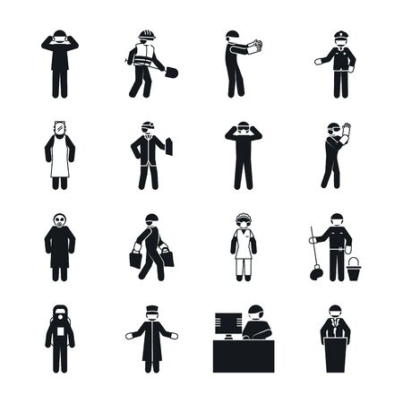 Illustration for pictogram maid woman and essential workers icon set over white background, silhouette style, vector illustration - Royalty Free Image