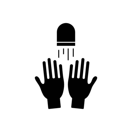 hands and water faucet icon over white background, silhouette style, vector illustration