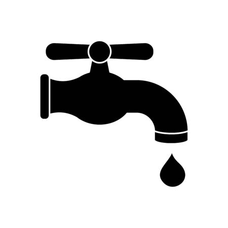 water faucet and drop icon over white background, silhouette style, vector illustration
