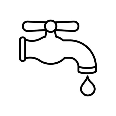 water faucet and drop icon over white background, line style, vector illustration