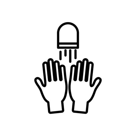 hands and water faucet icon over white background, line style, vector illustration