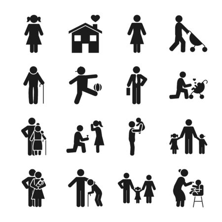 Illustration for pictogram kids and people icon set over white background, silhouette style, vector illustration - Royalty Free Image