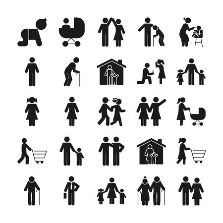 Illustration for pictogram people and family icon set over white background, silhouette style, vector illustration - Royalty Free Image