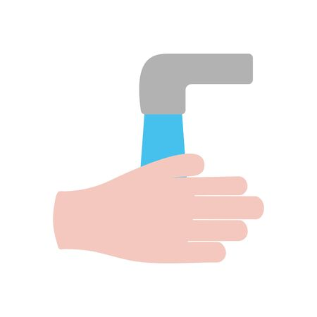 handwashing concept, water faucet and hand icon over white background, flat style, vector illustration