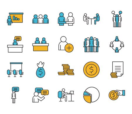 Illustration for People line and fill style icon set design of Person profile social communication and human theme Vector illustration - Royalty Free Image