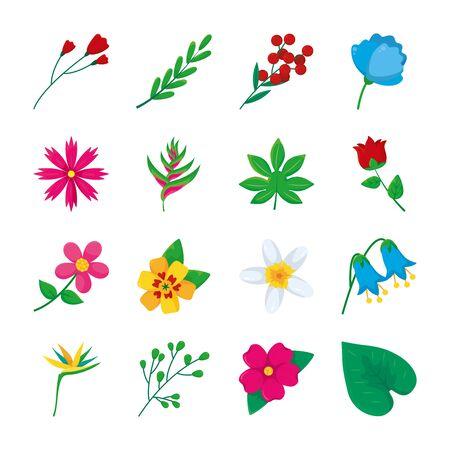 Illustration pour rose and tropical flowers icon set over white background, colorful design, illustration - image libre de droit