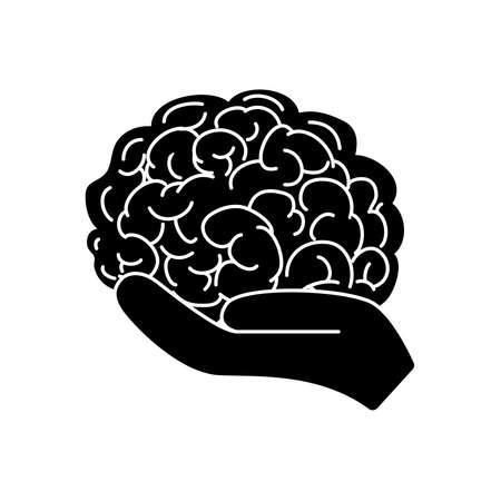 Illustration pour mental health concept, hand holding a brain icon over white background, silhouette style, vector illustration - image libre de droit
