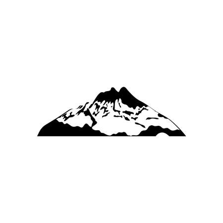 Illustration pour icon of mountain with snow over white background, silhouette style, vector illustration - image libre de droit