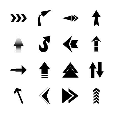 Illustration pour arrows up icon set over white background, silhouette style, vector illustration - image libre de droit