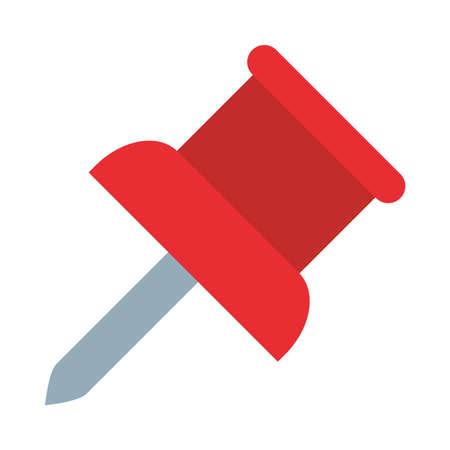Ilustración de paper pin icon over white background, flat style, vector illustration - Imagen libre de derechos