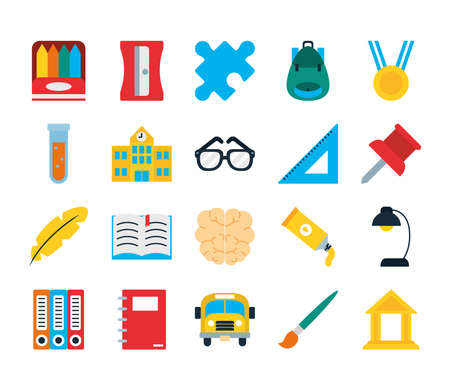 Illustration for school backpack and school icon set over white background, flat style, vector illustration - Royalty Free Image