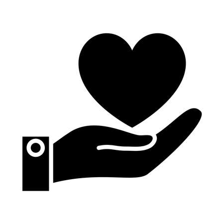 Illustration pour hnad holding a heart icon over white background, silhouette style, vector illustration - image libre de droit