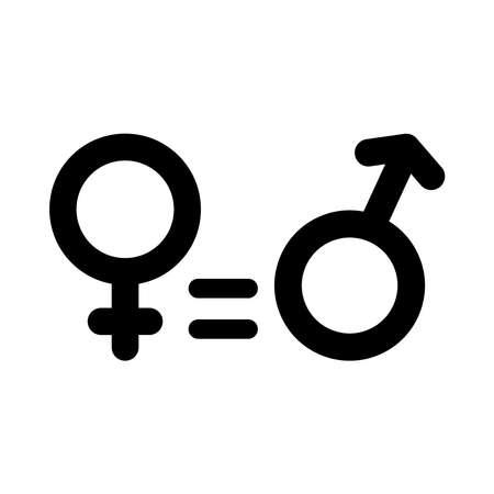 Ilustración de equality symbol, female and male gender symbols over white background, silhouette style, vector illustration - Imagen libre de derechos