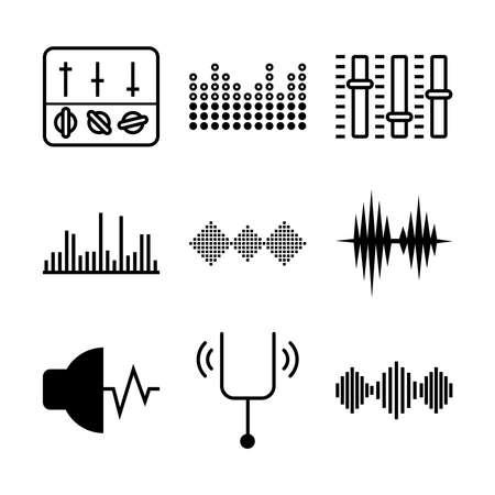 Illustration pour icon set of sound waves and equalizer over white background, vector illustration - image libre de droit