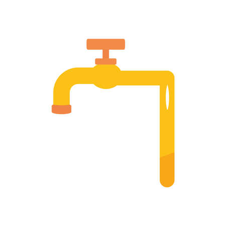 water faucet icon over white background, flat style, vector illustration