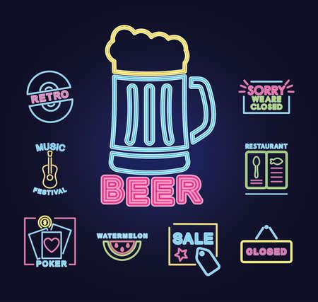 Illustration pour beer mug and neon signs icon set over purple background, vector illustration - image libre de droit