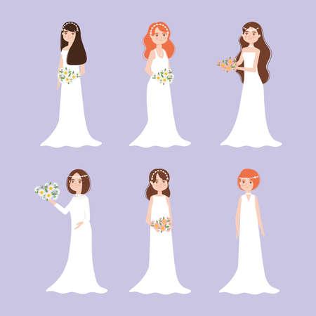 Illustration pour set of happy brides - image libre de droit
