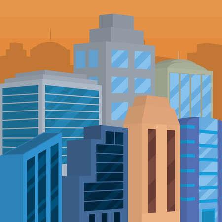 Illustration for sunset city landscape - Royalty Free Image