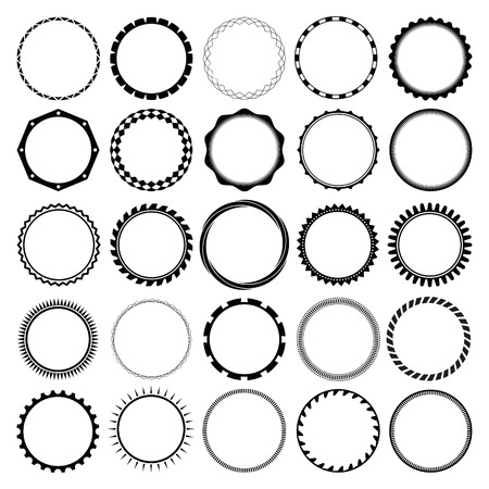 Illustration pour Collection of Round Decorative Border Frames with Clear Background. Ideal for vintage label designs. - image libre de droit