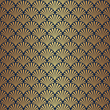 Illustration for Seamless Art Deco Pattern with Gold Gradient - Royalty Free Image